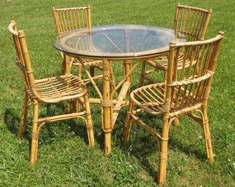Vintage Mid Century Rattan / Bamboo Table And Chair Set / Tiki / 1950s,  1960s