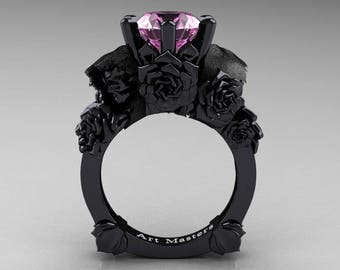 Love and Sorrow 5K Black Gold 3.0 Ct Light Pink Sapphire Skull and Rose Solitaire Engagement Ring R713-5KBGLPS