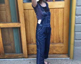Vintage Dark Blue Denim Overalls by Berne Size Large