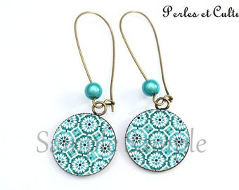 Earrings mosaic Arab Moroccan blue black cabochon