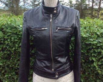 Beautiful vintage 90s black leather biker style jacket