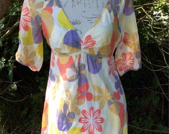 Vibrant floral print cotton and silk blend long sleeve dress
