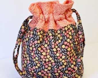 drawstring knitting project bag // kids toy storage travel bag // reusable gift bag