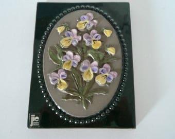 Pink Flowers JIE Gantofta Ceramic - Vintage Swedish Plaque -  Scandinavian Wall Hanging Design by Aimo