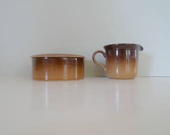 Vintage Höganas Swedish sugar and cream set-  Scandinavian Green Retro Hoganas Grand