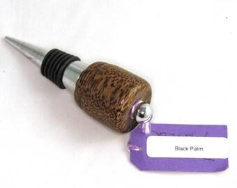 Bottle Stopper - Chrome Steel and Endgrain Black Palm Wood