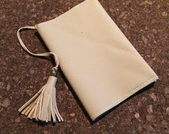 Tan Leather Passport Cover with Tassel