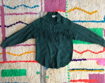 Emerald green fringe western blouse