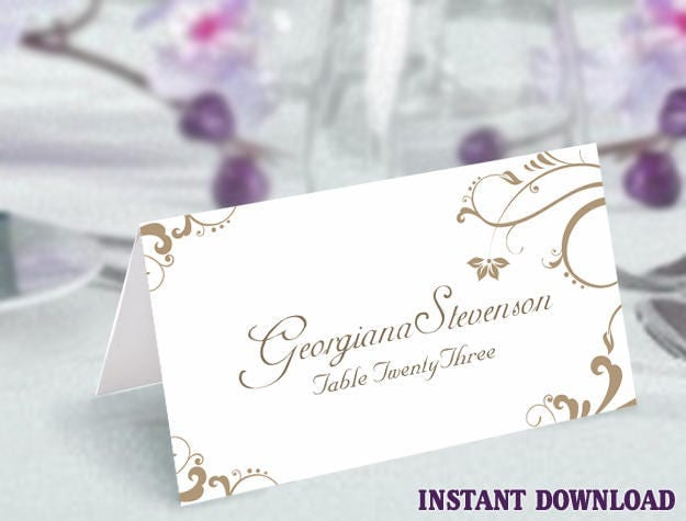 Printable Place Cards Wedding Place Card Template Elegant Gold Place ...
