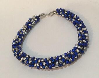 Blue and Clear Kumihimo Braided Czech Glass Beaded Bracelet
