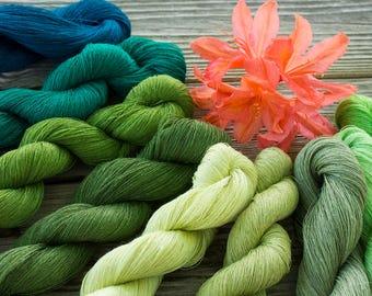 Set of 9 linen skeins - green linen thread mix