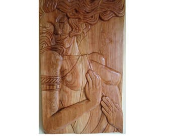 Carved Female wood sculpture - Wood Wall art - Wood carving - Carved wood sign - Ash wood - Hand carved sculpture - Large wood sculpture