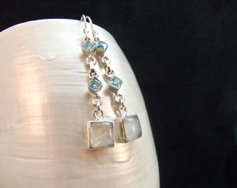 Moonstone & Blue Topaz Sterling Silver Earrings