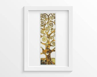 Tree of Life Bookmark Cross Stitch Kit, Embroidery Kit, Art Cross Stitch, Gustav Klimt, Abstract Cross Stitch (BK39)