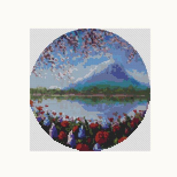 CIRCULAR Cross Stitch Pattern PDF - Blue Mountain - Cross Stitch - Instant Download (C013)