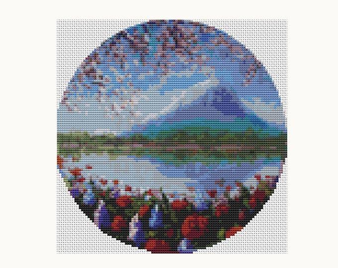 CIRCULAR Cross Stitch Pattern PDF, Embroidery Chart, Art Cross Stitch, Blue Mountain (C013)