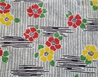 Vintage FULL Feed Sack Feedsack Fabric Material Blue Roses