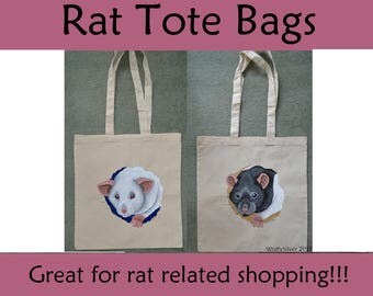 Rat Tote Bags, Shoppers, Cotton Tote - Eco Friendly and Reusable, Hand-painted Bags - Albino and Black Hooded Rat Varieties