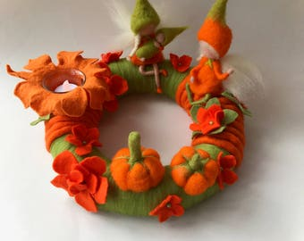 Autumn Table Wreath .Pixie,Needle Felted. Waldorf.Fall wreath.Late summer wreath,pumpkin