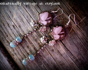 Earrings, Fairy, Whimsical, Handmade, Shabby Chic, Victorian, Woodland, Faerie