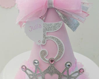 Pink, White and Glitter Silver Heart Crown - Princess Birthday Party Hat - Personalized
