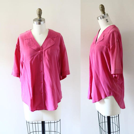 1980s pink silk short sleeve blouse // 1980s pink blouse // 1980s blouse