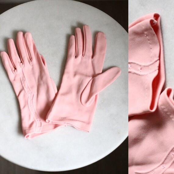 1960s pink cotton gloves // cocktail gloves // vintage gloves