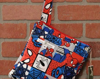 Small Wetbag, Spiderman, HANDLE, Cloth Diaper Wetbag, Cosmetic Bag, Diaper Bag, Holds One Diaper, Size Small with Pocket, S39