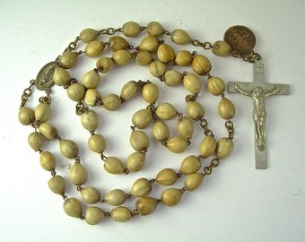 """Vintage CATHOLIC ROSARY, Olive Tree Seed Beads, Copper St. Benedict Medal, CNEWA, 22"""""""