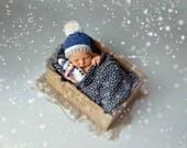 Snowman & Hat knitted Set , Newborn Christmas Set , knitted photo prop