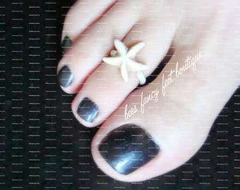 Toe Ring - White StarFish - Constituted Precious Stone | Stretch Bead Toe Ring