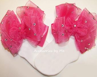 Glitzy Pageant Socks, Hot Pink Bow Sock, Hot Pink Organza Satin Bow Socks, Girls Hot Pink Socks, Baby Hot Pink Socks, Toddler Hot Pink Socks