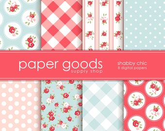Shabby Chic Digital Paper - Chic Scrapbook Paper - Digital Paper - Floral Digital Paper - Scrapbook Paper - Digital Paper Pack