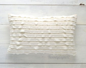 "White Ruffle Lumbar Pillow Cover -  12"" x 20"" - Decorative Pillow, Throw Pillow, White Pillow, Ruffle Pillow, Nursery Pillow, Girls Room"