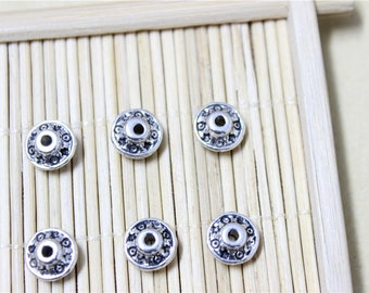 50 beads spacer antique silverplate