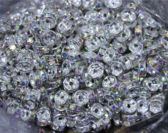 beads wheel spacer crystal AB 6mm /8mm