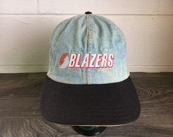 Blazers Denim Hat Vtg 90s Rip City Portland Nba Strap Back Spell Out Jean Basketball Sports PDX Rare Trail Blazers Cap