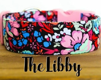 """Pink, Coral, Cornflower & Ice Frappe Floral Vintage Inspired Dog Collar """"The Libby"""""""