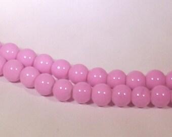 Round 8mm pink glass beads