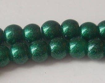 Glitter green 6 x 10 mm round glass beads