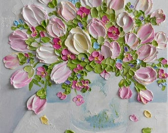 Custom Variegated Tulip Oil Impasto Painting, Pinks , White and Pale Yellow Tulips, Cottage Chic Decor