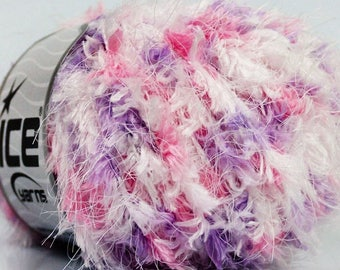 Ball of wool purple/white/pink fiesta - 50grs - hairy 100% polyester