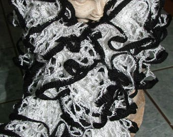 Amor ruffled black and white scarf - handmade