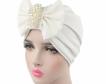 White Hat Hijab Turban Head Wrap with Pearls, Wedding Hat, Bridal Accessories