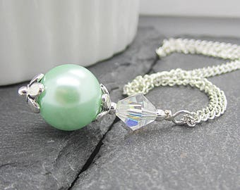 Mint Bridesmaid Necklace, Pastel Green Pearl Jewellery, Bridesmaid Gift, Mint Wedding, Bridesmaid Necklace, Wedding Accessories,