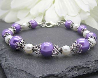 Purple and Ivory Bridesmaid Jewellery Lilac Pearl Bracelet Pearl Bridal Sets Lavender Wedding Jewellery Bridesmaid Gift Matching Bridal Sets