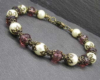 Plum Bridesmaid Jewellery, Rustic Weddings, Pearl and Crystal Sets, Plum Bridesmaid Bracelets, Purple and Ivory, Bridal Party Gifts,
