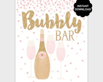 Bubbly Bar Sign, Confetti Champagne Bar Sign, Blush Pink Gold Glitter Baby Bridal Shower, Birthday Mimosa Bar Table Sign, Instant Download
