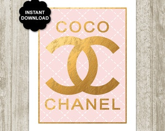 Coco Chanel Logo Poster, Pink Chanel Print, Faux Metallic Gold Chanel Printable, Glamour Fashion Wall Art 8x10 11x14 16x20 Instant Download