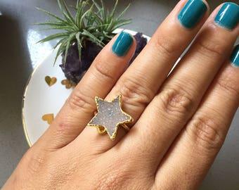 Druzy gold ring, star druzy ring, druzy adjustable ring, star ring, adjustable star gold ring, statement ring